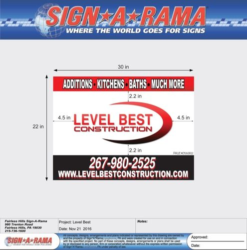 Signarama - Fairless Hills, PA. Coroplast Sign 22