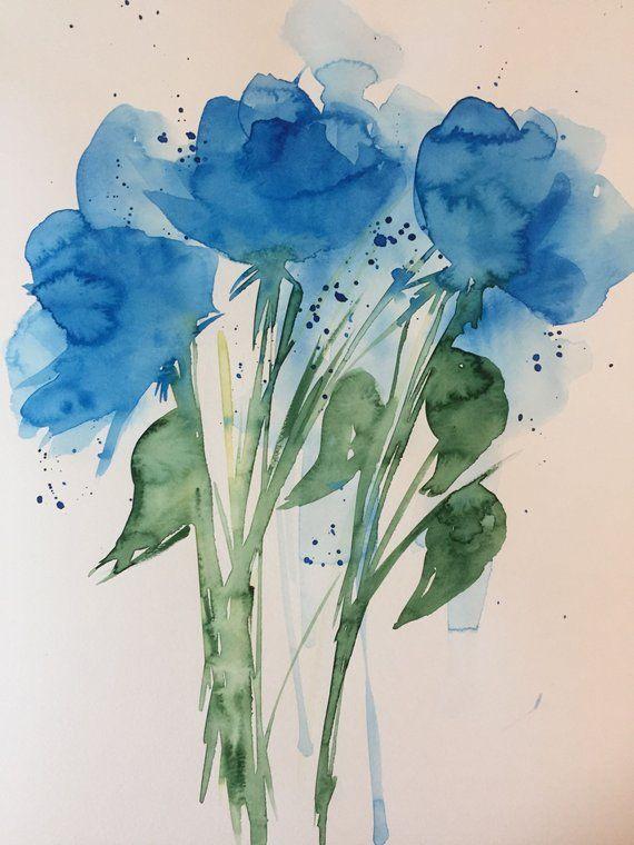 Original Aquarell Aquarellmalerei Bild Aquarell Blumen Abstrakte