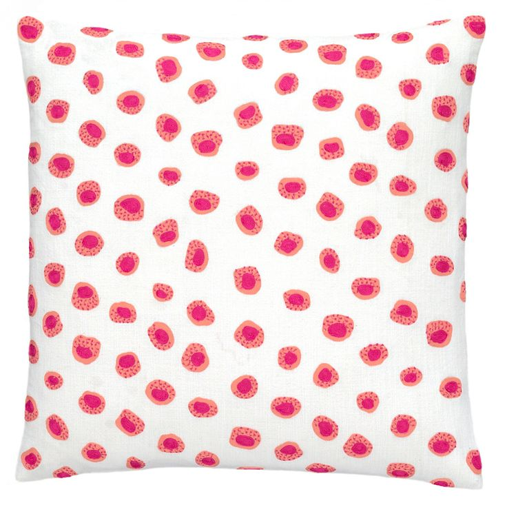 Pine Cone Hill Thumbprint Embroidered Decorative Pillow - Coral/Fuchsia