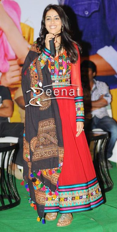 Genelia D'Souza In Red Cocktail Anarkali