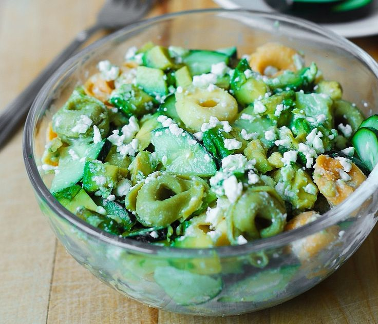 Greek Tortellini Salad with avocados and cucumbers. Add egg/nuts for meal