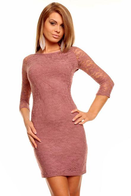 Dámské společenské šaty MAYAADI krajkové s 3 4 rukávem krátké starorůžové f216c70042