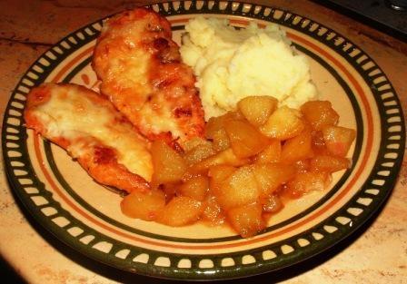 Mézes csirkemell, burgonyapürével, karamelles almamártással #chicken #apple