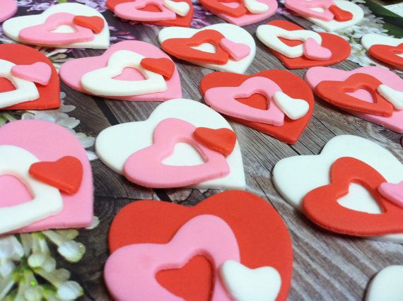 Valentine Heart cupcake toppers by LuluBellCakes on Etsy, $15.00