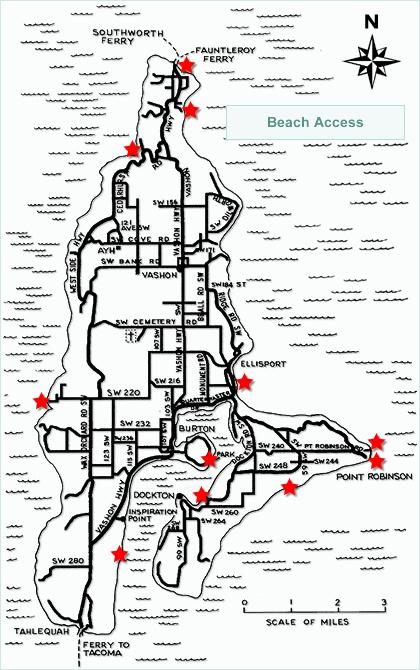 Interactive map of Vashon beach access points; courtesy of ...