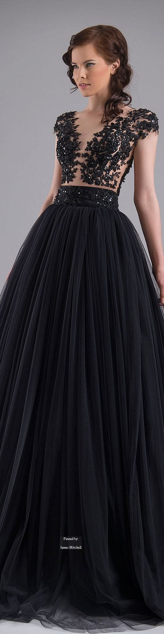 Chrystelle Atallah ~ Couture Black Embroidered Bodice Gown with High Waist Pleated Full Skirt Summer 2015