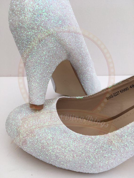 a75aa671040 Iridescent White Glitter Heels - Custom Shoes - Mid Heel - Bridal ...