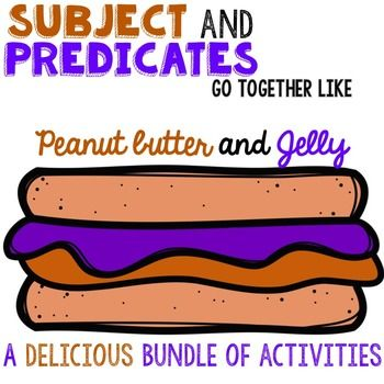 What a cute way to teach that subject and predicates STICK together! Offers a ton of printables AND center activities!