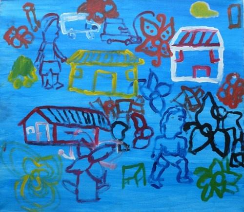 Fundraising for Village Africa - vibrant group paintings using doodles #DoodleJam - www.doodlejam.com