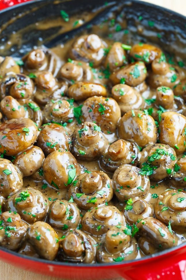Save this Christmas dinner side dish to make Creamy Garlic and Brie Mushrooms.