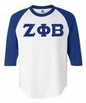 Zeta Phi Beta sorority Lettered Raglan Shirt!  Our incredible 3/4 Raglan sleeve Baseball Jersey. Features contrasting short raglan sleeves and you can get this Greek Raglan Shirt  for only $22.95