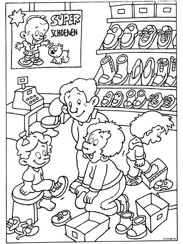 Kleurplaat Schoenen passen in de schoenwinkel - Kleurplaten.nl