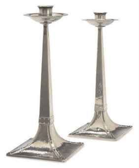 A PAIR OF ENGLISH ARTS & CRAFTS PEWTER CANDLESTICKS,  JAMES DIXON & SONS, EARLY 20TH CENTURY  Price realised  USD 1,188