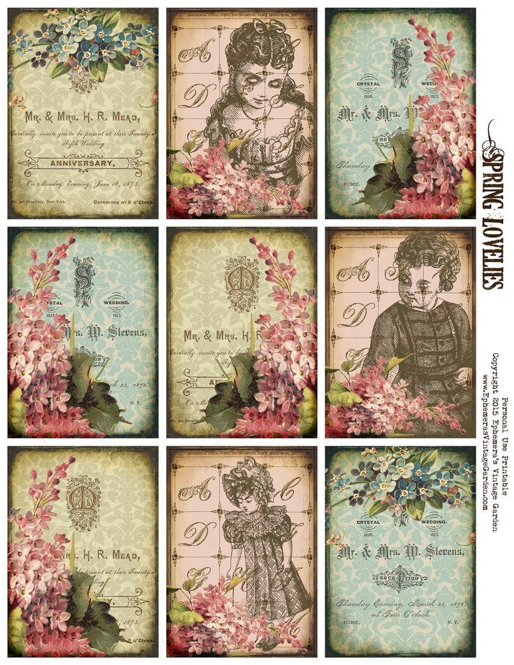 Ephemera's Vintage Garden: Free Printable - Spring Floral ATC's