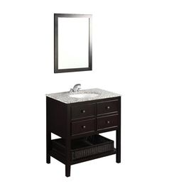 Simpli Home�Burnaby 31-in x 21.5-in Espresso Undermount Single Sink Bathroom Vanity with Granite Top $838.77