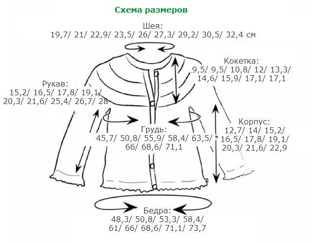 Веселый кардиган спицами для девочки  - схема размеров
