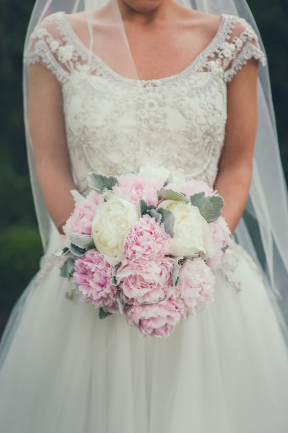 Classic white and pink peonies wedding bouquet; Featured Photographer: Sherry Hammonds Photography