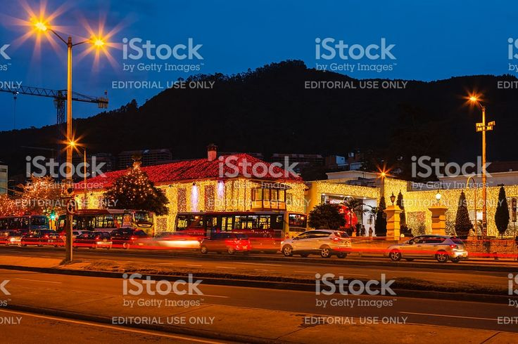 Bogota, Colombia: Christmas lights on the Andes during Blue Hour royalty-free stock photo