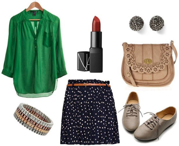Museum outfit: Green blouse, printed skirt, lipstick, satchel bag, oxfords, lipstick