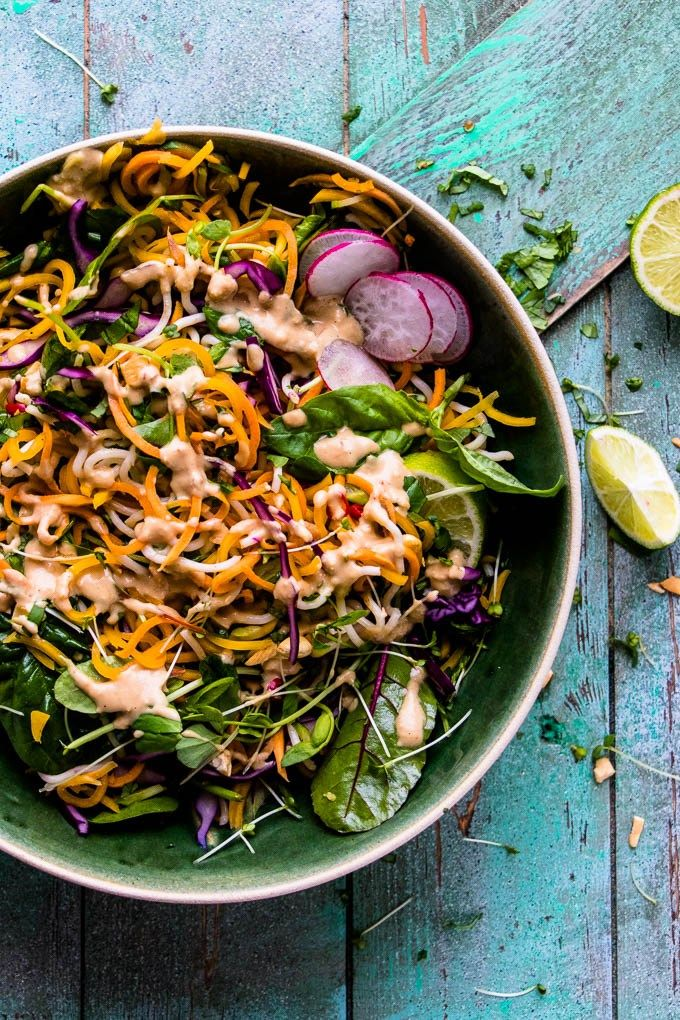 Rainbow Veggie Pad Thai with Cashew Satay Sauce. Ready in 15 minutes. | www.saltedmint.com