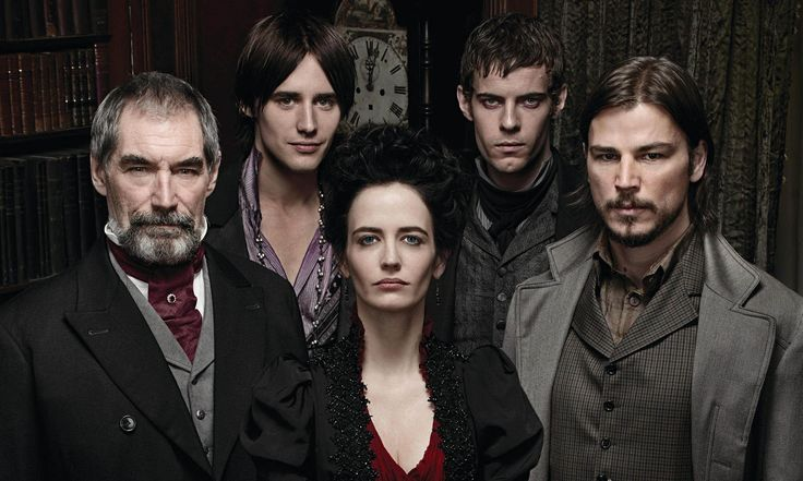 The prime characters: Sir Malcolm Murray, Vanessa Ives, Ethan Chandler, Dorian Gray and Victor Frankenstein.
