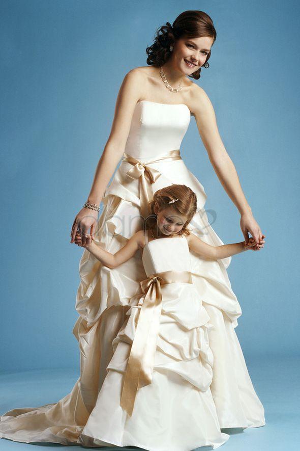 Ballrobe Taft Schärpe volle länge ärmelloses gerüschtes Blumenmädchenkleid mit Träger