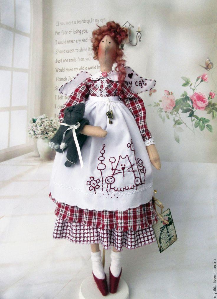 Купить Кузькина мать - бордовый, my cat, котик, кукла ручной работы, тильда кукла