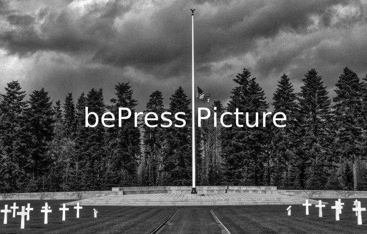 20160327 - NEUVILLE-EN-CONDROZ, BELGIUM: Hommage au cimetière militaire américain avec le drapeau en berne. | Tribute to the American military cemetery with the flag at half-mast. Philippe BOURGUET/bePress Photo Agency