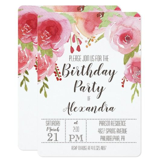 Pink Whimsical Floral Birthday Party InvitationWhimsical Birthday Invitation - with charming hand-painted watercolor pink roses - in adorable whimsical and romantic style.  Perfect for girls and adults by Amistyle Art Studio on Zazzle