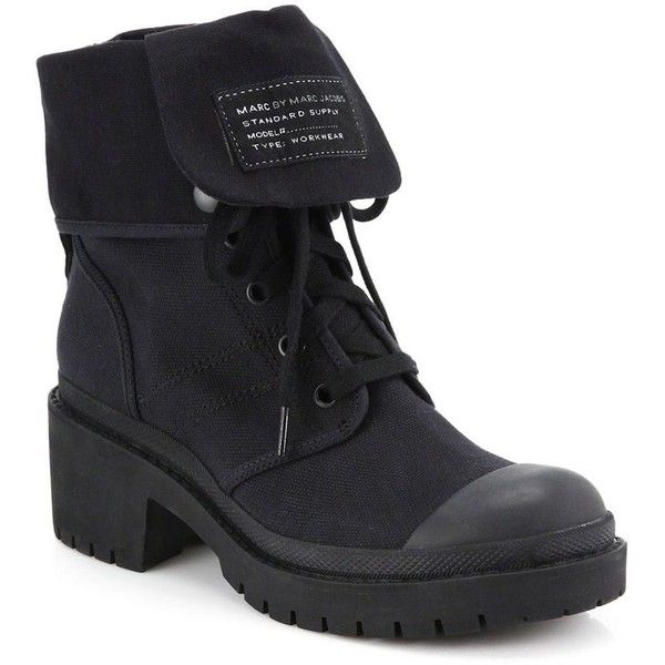 Marc by Marc Jacobs Army Canvas Lace-Up Boots (730 BGN) ❤ liked on Polyvore featuring shoes, boots, ankle booties, black, botas, apparel & accessories, combat booties, lace up ankle booties, black boots and black combat boots
