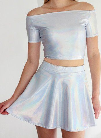 Silver Spectrum Skater Skirt - Spikes and Seams   - 1