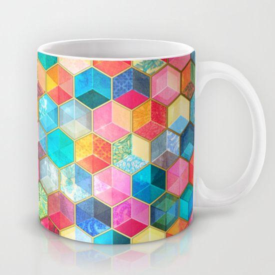 Crystal Bohemian Honeycomb Cubes - colorful hexagon pattern mug