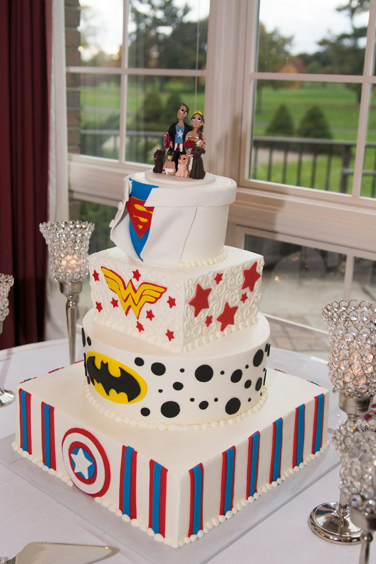 Custom Super Hero Themed Wedding Cake Topper, Super Woman, Captain America, Batman by KadoodlesCreation on Etsy https://www.etsy.com/listing/230718079/custom-super-hero-themed-wedding-cake
