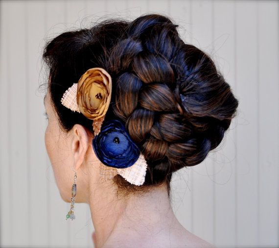 Rustic brown and navy hair clips  Embellished by TutusChicBoutique, $20.00