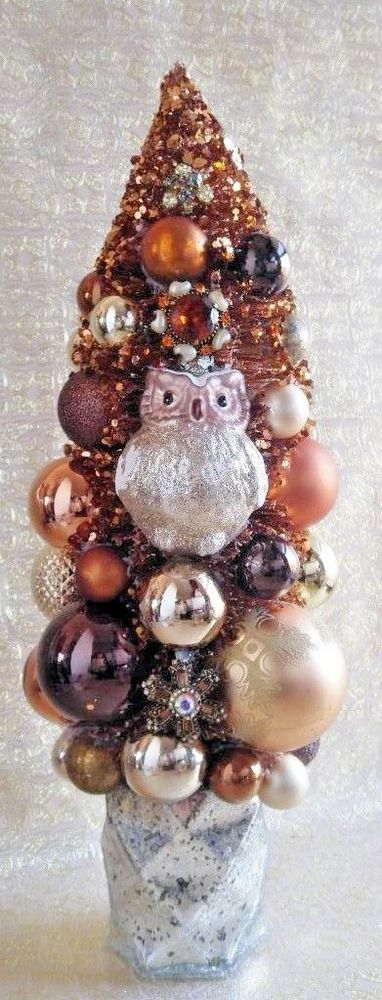 Owl Tree with Costume Jewelry, Mercury Glass, Halloween and Christmas Decor NEW