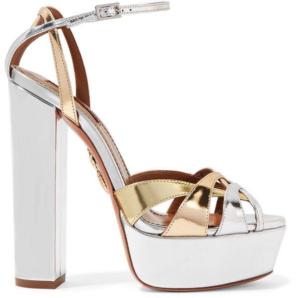 Aquazzura Luna metallic leather platform sandals (8320 MAD) ❤ liked on Polyvore featuring shoes, sandals, heels, silver, chunky heel sandals, high heel sandals, heeled sandals, metallic platform sandals and chunky-heel sandals