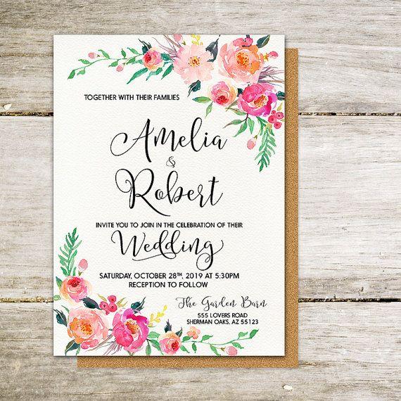 Imprimibles boda invitación suave romántico por HappyLifePrintables