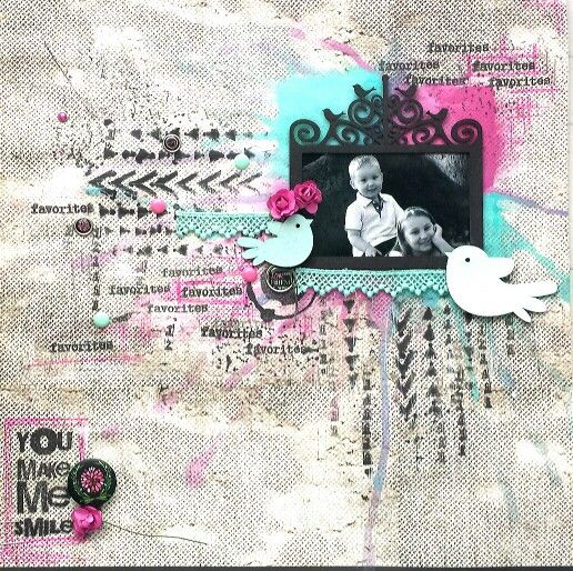 You Make Me Smile layout by Amanda Baldwin featuring PWP stamps & ID Chipboard