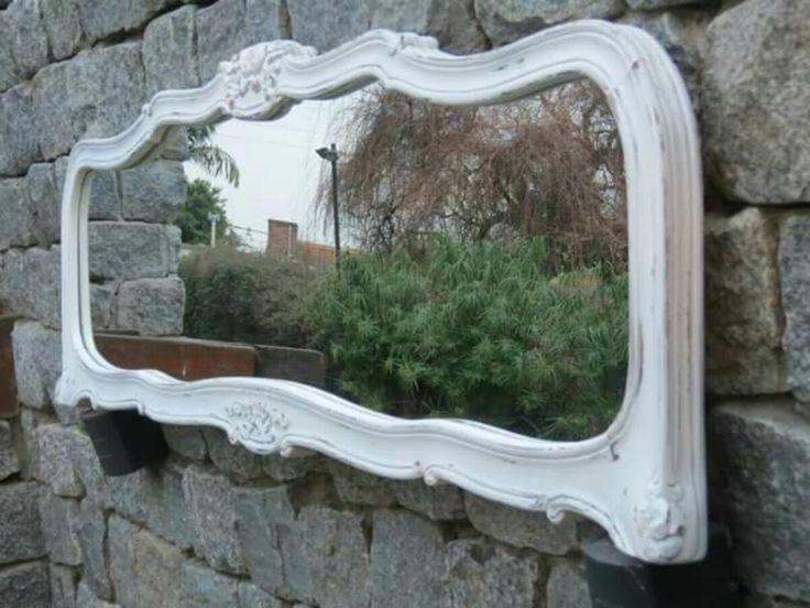 espejo restaurado con respaldo cama luis xv
