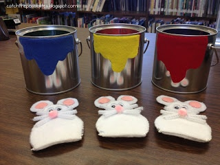 catch the possibilities: Flannel Friday & Storytime Swap: Mouse Paint. Totally loving the other colors hidden in the can (because I love blowing the minds of 3 year olds)!