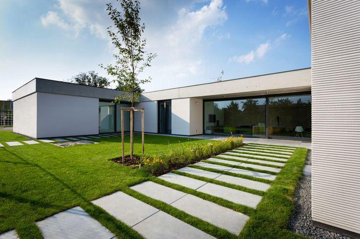 Outdoor, tiles / grass