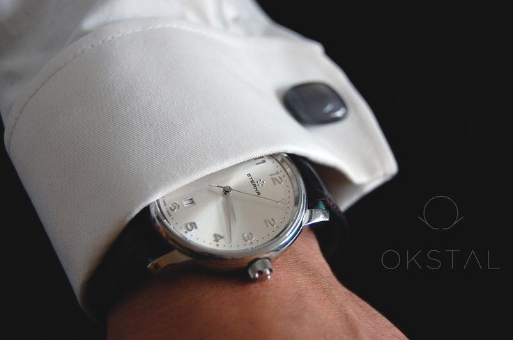 42mm Eterna dresswatch with OKSTAL shirt equipped with self holding and assymmetrized french style watchcuff