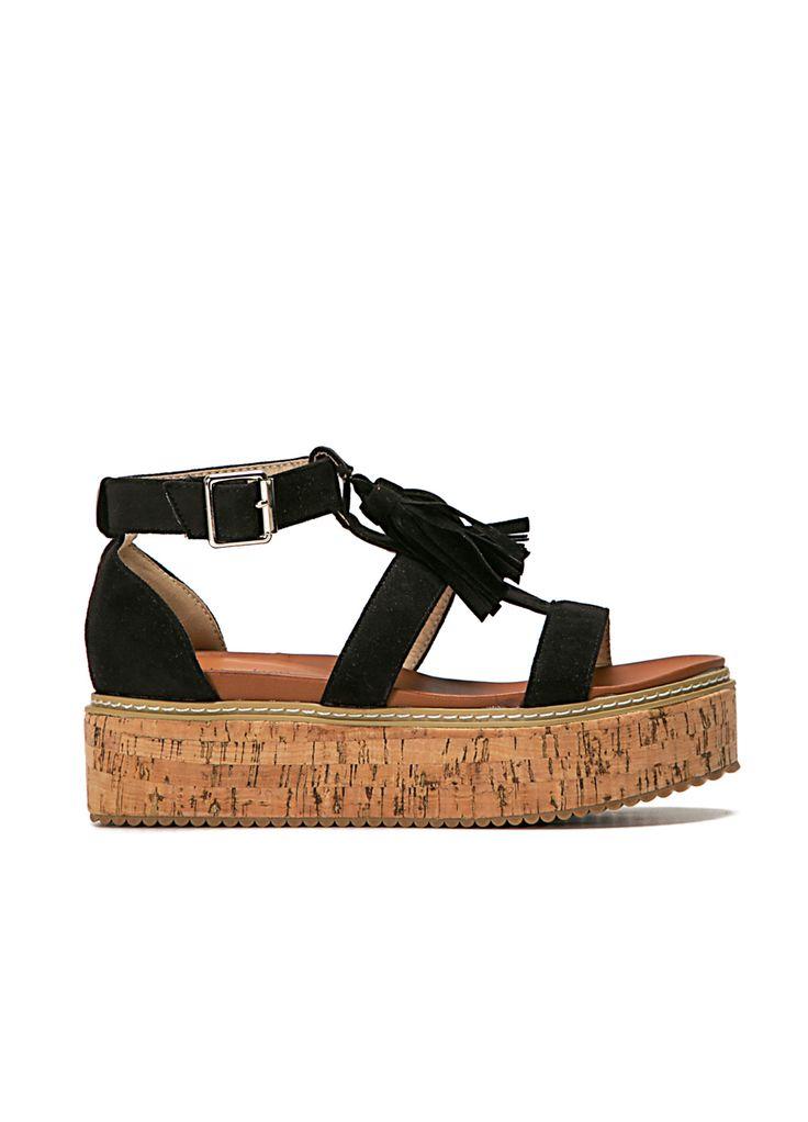 Flatform Πέδιλα Καστώρ-Μαύρο -  ΓΥΝΑΙΚΕΙΑ ΠΑΠΟΥΤΣΙΑ - LUIGI FOOTWEAR