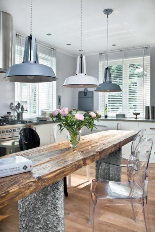 Nowoczesna kuchnia z rustykalnym akcentem Stół w kuchni   -> Kuchnia Orzech Bialy