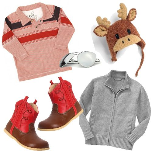 Fashion for the Boy's ~    I'm digging this baby Huxley polo and these Livie & Luca cowboy boots. Big fan of cute, out-of-the-ordinary hats like this moose beanie (sort of resembles a reindeer, right?!) and check out these cool shades for little men, now they can look just like daddy. This boy's button up cardigan is a stylish winter staple.