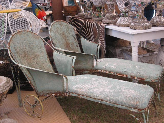 Vintage chaise lounges vintage wrought iron patio furniture pinterest c - Chaise metal vintage ...