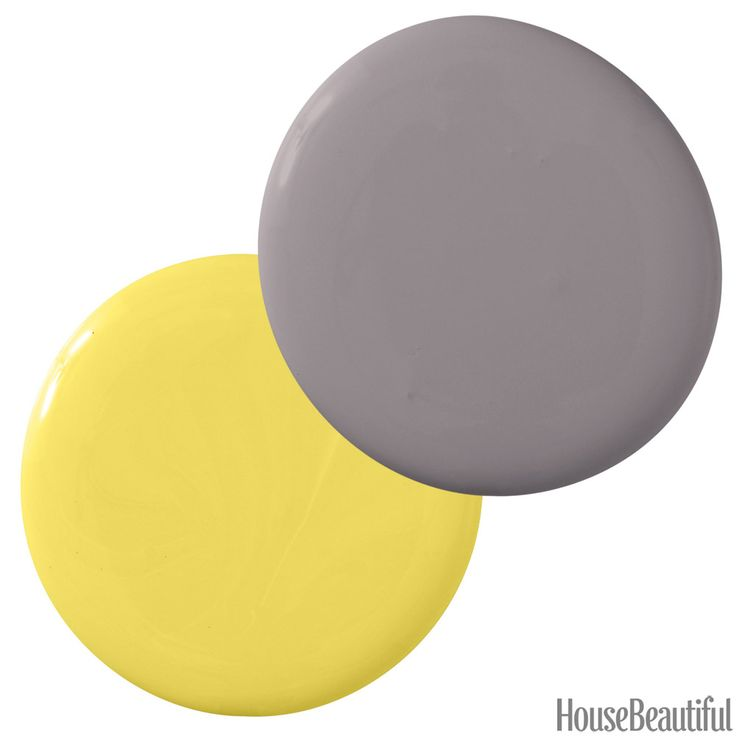 """""""A rich gray provides an elegant contrast to a vibrant, sunny yellow. It's an unexpected combi nation that's both sophisticated and lively. Use it alongside creamy neutral fabrics, natural elements like driftwood or quartz bowls, and metallics for a chic Hamptons living room."""" —Amy Lau Benjamin Moore Banana Yellow 2022-40 & Stormy Monday 2112-50   - HouseBeautiful.com"""