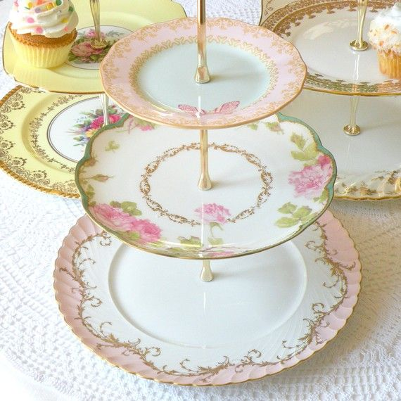 Alice Writes About Spring 3-Tier Tea Stand of Pink u0026 Green Vintage China with Butterfly for Afternoon Tea a Garden Birthday Party Display or Wedding ...  sc 1 st  Pinterest & 122 best Cake Plates u0026 Stands images on Pinterest | Cake plates ...