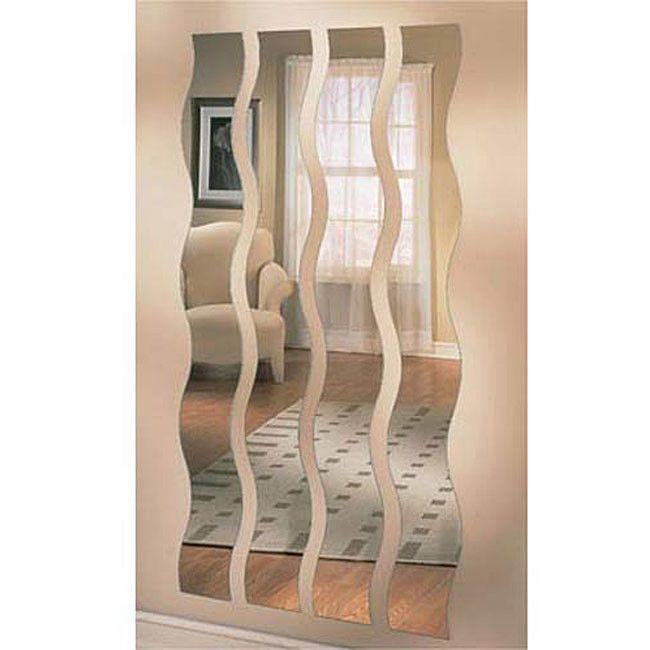 Decorative Wall Mirror For Your Living Room. Four Wavy Mirror Strips That  Addu2026