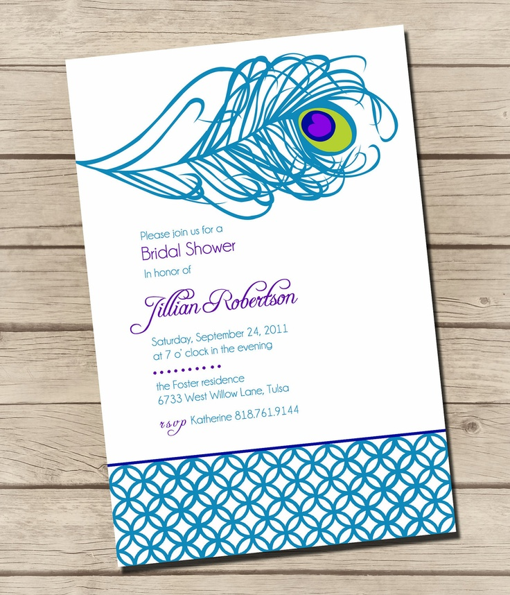 PRINTABLE  Swanky Peacock  Bridal Shower by UrbanFrontiers on Etsy, $12.00 Find DIY version